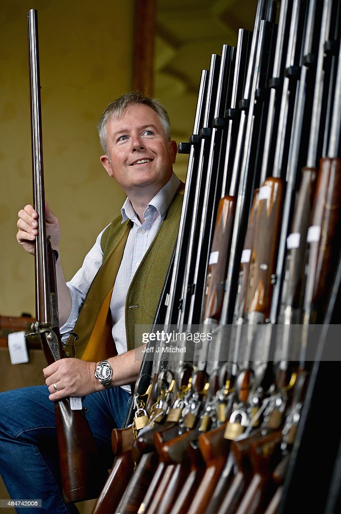Gavin Gardiner holds one of a pair of 16bore pinfire hammer guns that were built by Albert Staehle for Prince Ernest Augustus Crown Prince of Hanover...