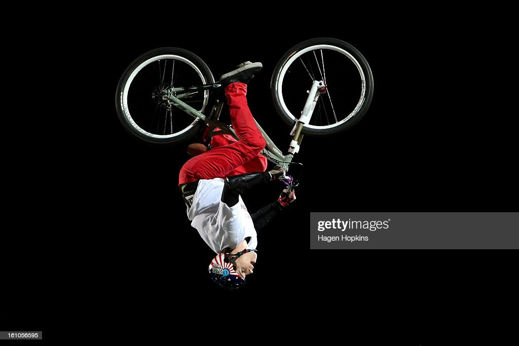 Gavin Godfrey performs a BMX trick during Nitro Circus Live at Westpac Stadium on February 9, 2013 in Wellington, New Zealand.