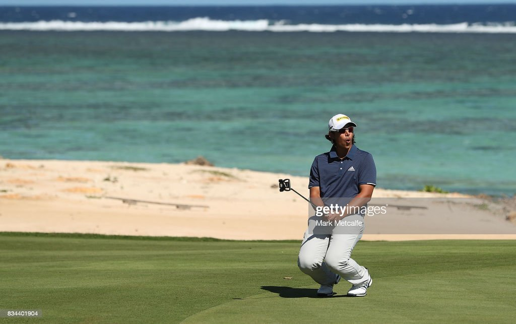 Gavin Green of Malaysia reacts to nearly holing a putt on the 8th hole during day two of the 2017 Fiji International at Natadola Bay Championship Golf Course on August 18, 2017 in Suva, Fiji.