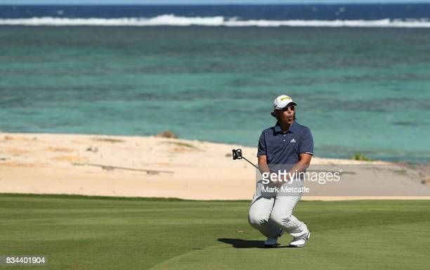 Gavin Green of Malaysia reacts to nearly holing a putt on the 8th hole during day two of the 2017 Fiji International at Natadola Bay Championship...