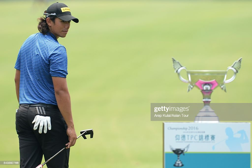 Gavin Green of Malaysia walked past the Yeangder Tournament Players Championship trophy during the practice round ahead of the Yeangder Tournament Players Championship at Linkou International Golf Club on June 28, 2016 in Taipei, Taiwan.