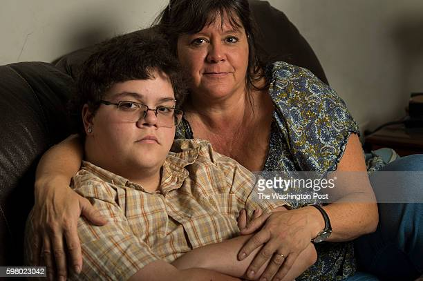 Gavin Grimm left is photographed with his mom Deirdre Grimm in Gloucester Virginia on Sunday August 21 2016 The transgender teen sued the Gloucester...