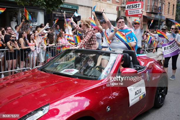 Gavin Grimm rides during the 2017 Pride March in the West Village on June 25 2017 in New York City