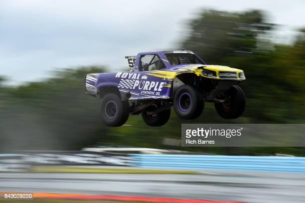 Gavin Harlien goes over a jump during the SPEED Energy Stadium Super Trucks Race at Watkins Glen International on September 3 2017 in Watkins Glen...