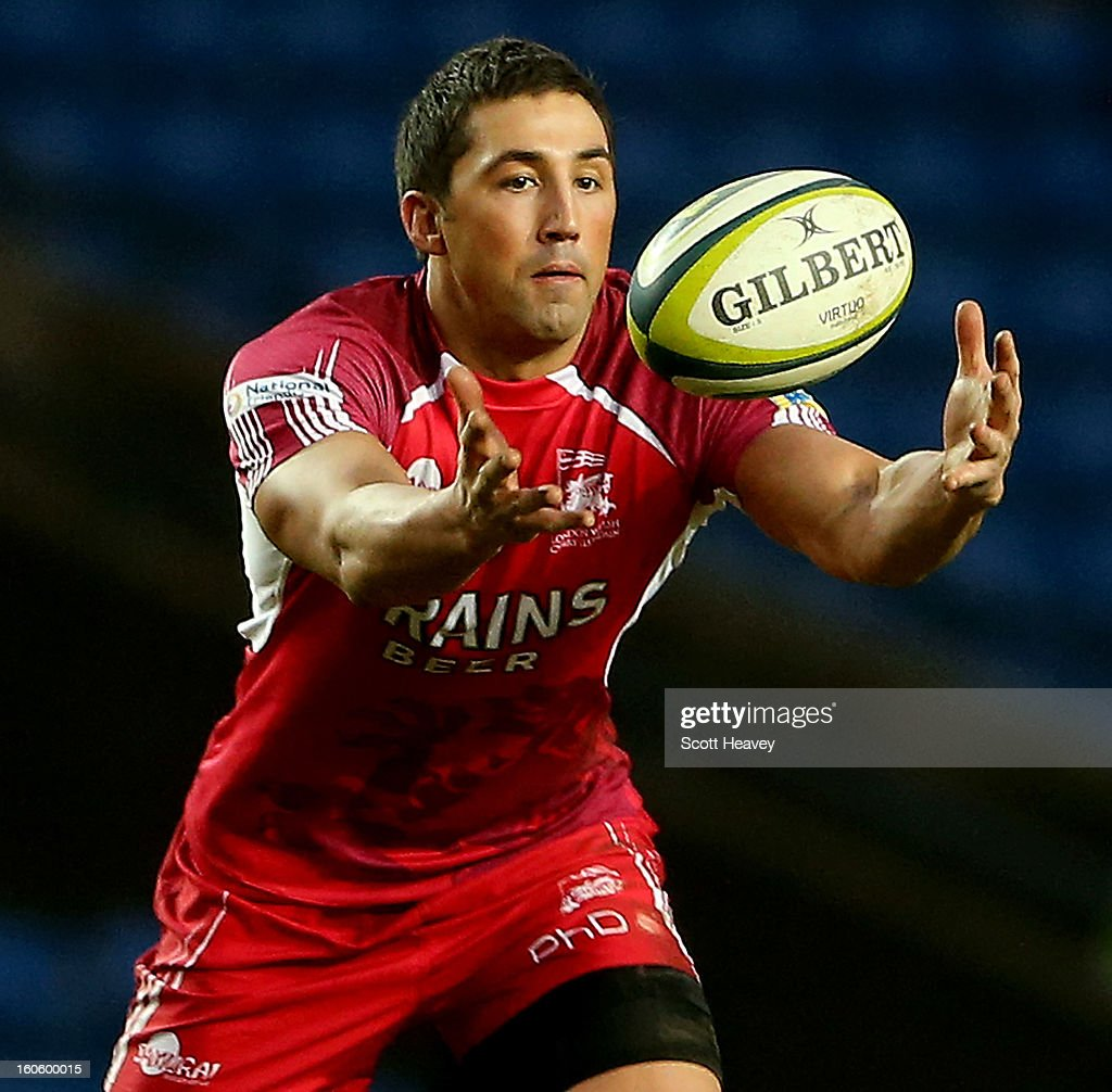 <a gi-track='captionPersonalityLinkClicked' href=/galleries/search?phrase=Gavin+Henson&family=editorial&specificpeople=198865 ng-click='$event.stopPropagation()'>Gavin Henson</a> of London Welsh during the LV=Cup match between London Welsh and Newport Gwent Dragons at Kassam Stadium on February 3, 2013 in Oxford, England.