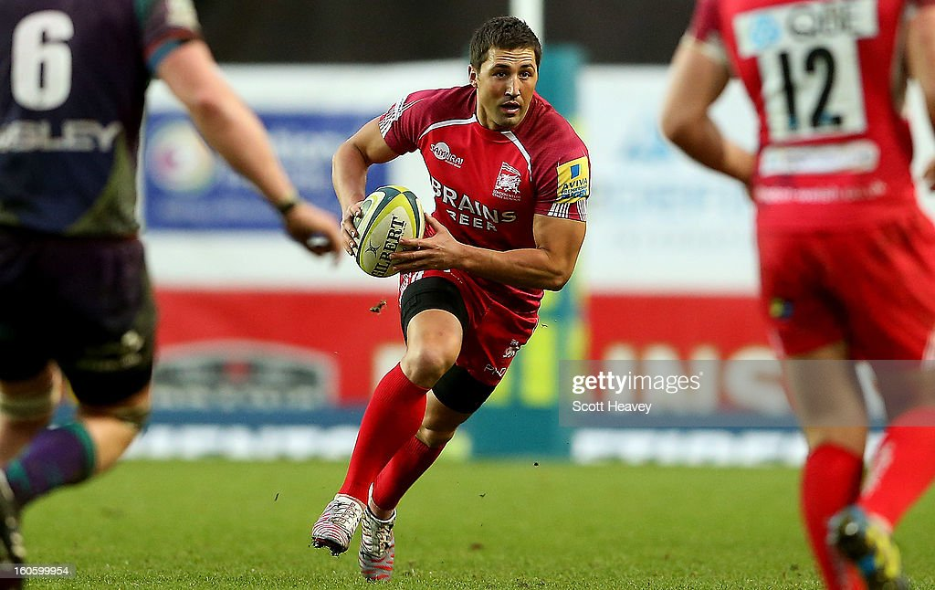 <a gi-track='captionPersonalityLinkClicked' href=/galleries/search?phrase=Gavin+Henson&family=editorial&specificpeople=198865 ng-click='$event.stopPropagation()'>Gavin Henson</a> of London Welsh in action during the LV=Cup match between London Welsh and Newport Gwent Dragons at Kassam Stadium on February 3, 2013 in Oxford, England.