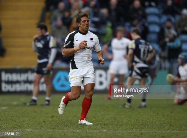 Gavin Henson of Saracens looks dejected as he is substituted during the Aviva Premiership match between Sale Sharks and Saracens at Edgeley Park on...