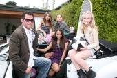 Gavin Keilly Kayla Ewell Nina Dobrev and Candice Accola attend GBK's Pre MTV Pool Party Day 2 on May 30 2009 in Los Angeles California
