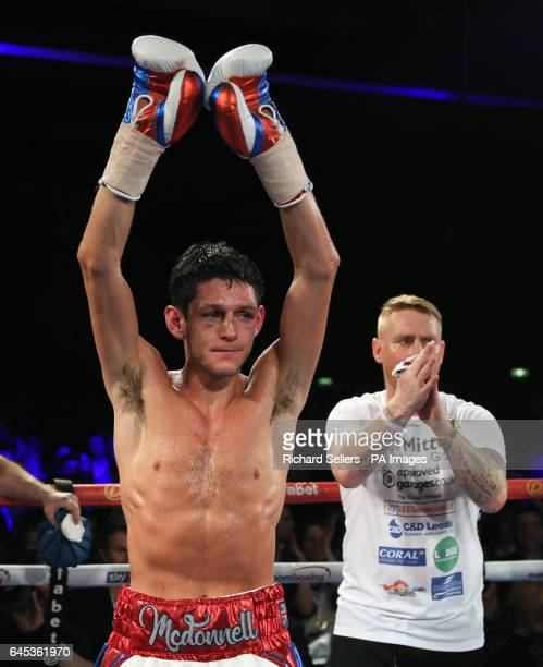Gavin McDonnell acknowledges the crowd after the WBC Super Bantamweight Championship bout at Hull Ice Arena