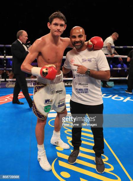 Gavin McDonnell celebrates beating Jozsef Ajtai during their Featherweight contest during their Lightweight contest at Manchester Arena