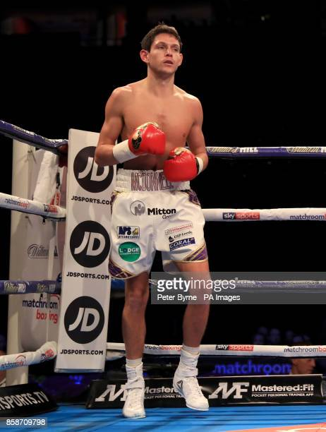 Gavin McDonnell in action against Jozsef Ajtai during their Featherweight contest during their Lightweight contest at Manchester Arena