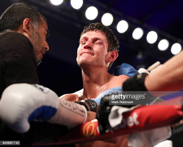 Gavin McDonnell looking dejected after he lost his fight against Rey Vargas for the Vacant WBC SuperBantamweight Championship on February 25 2017 in...