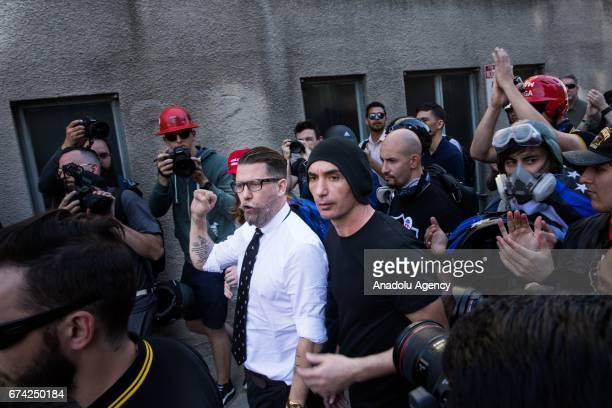 Gavin McInnes a Canadian right wing provocateur and Vice Media cofounder leaves a proDonald Trump rally at Martin Luther King Jr Civic Center Park in...