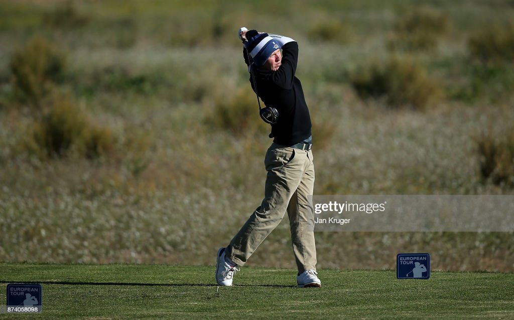 Gavin Moynihan of Ireland tees off the 6th during round four of the European Tour Qualifying School Final Stage at Lumine Golf Club on November 14, 2017 in Tarragona, Spain.