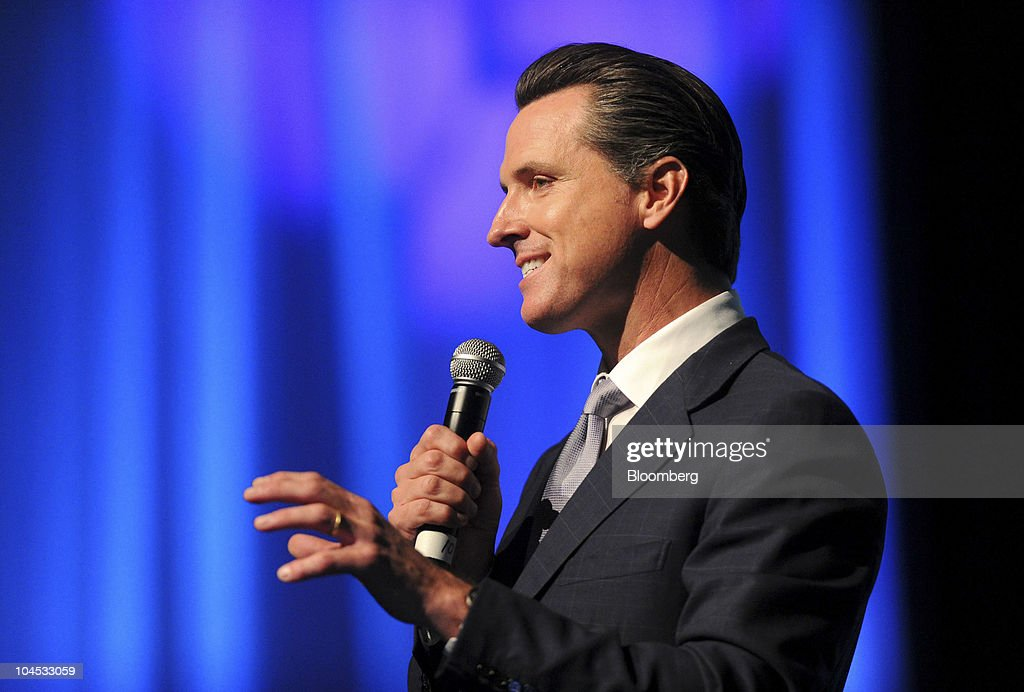<a gi-track='captionPersonalityLinkClicked' href=/galleries/search?phrase=Gavin+Newsom&family=editorial&specificpeople=206305 ng-click='$event.stopPropagation()'>Gavin Newsom</a>, mayor of San Francisco, speaks at the TechCrunch Disrupt conference in San Francisco, California, U.S., on Tuesday, Sept. 28, 2010. The conference runs until Sept. 29. Photographer: Noah Berger/Bloomberg via Getty Images