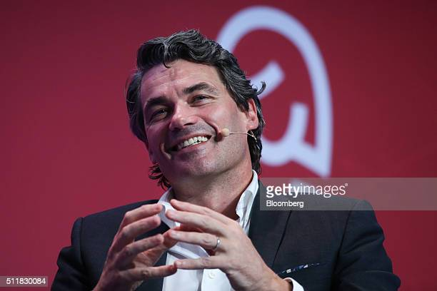 Gavin Patterson chief executive officer of BT Group Plc gestures as he speaks during a keynote session at the Mobile World Congress in Barcelona...