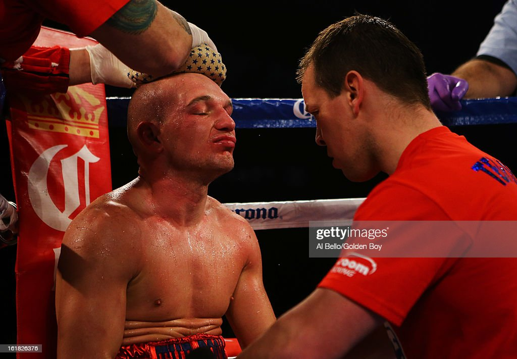 Gavin Rees is tended to in his corner against Adrien Broner during their WBC Lightweight Title fight at Atlantic City Boardwalk Hall on February 16, 2013 in Atlantic City, New Jersey.