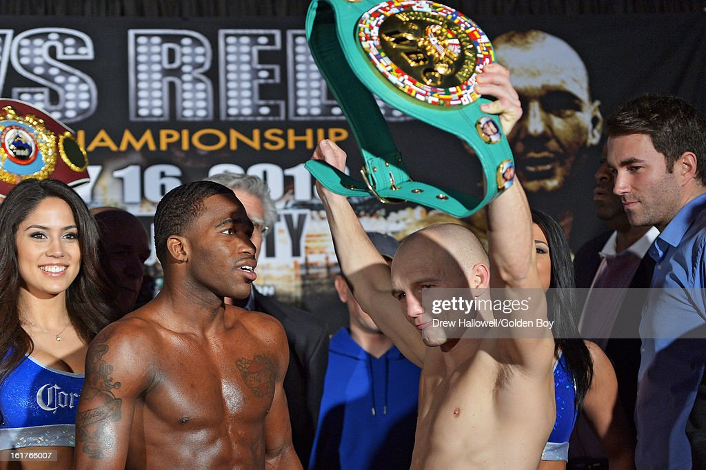 Gavin Rees of Wales takes holds up the championship belt that belongs to Adrien Broner during weigh-in before the WBC Lightweight World Championship at Caesars Atlantic City on February 15, 2013 in Atlantic City, New Jersey.