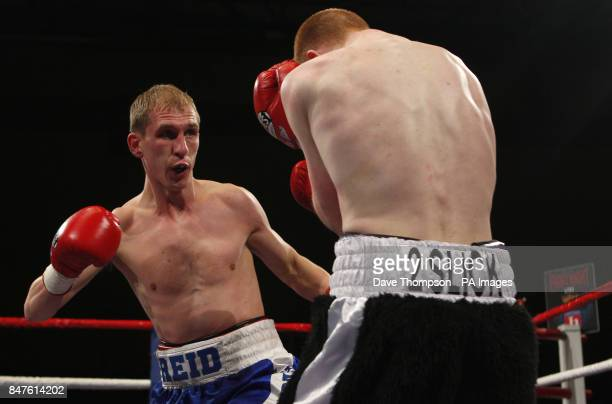 Gavin Reid left in action during his Bantamweight fight against Tommy Stubbs at the Sports Centre Oldham
