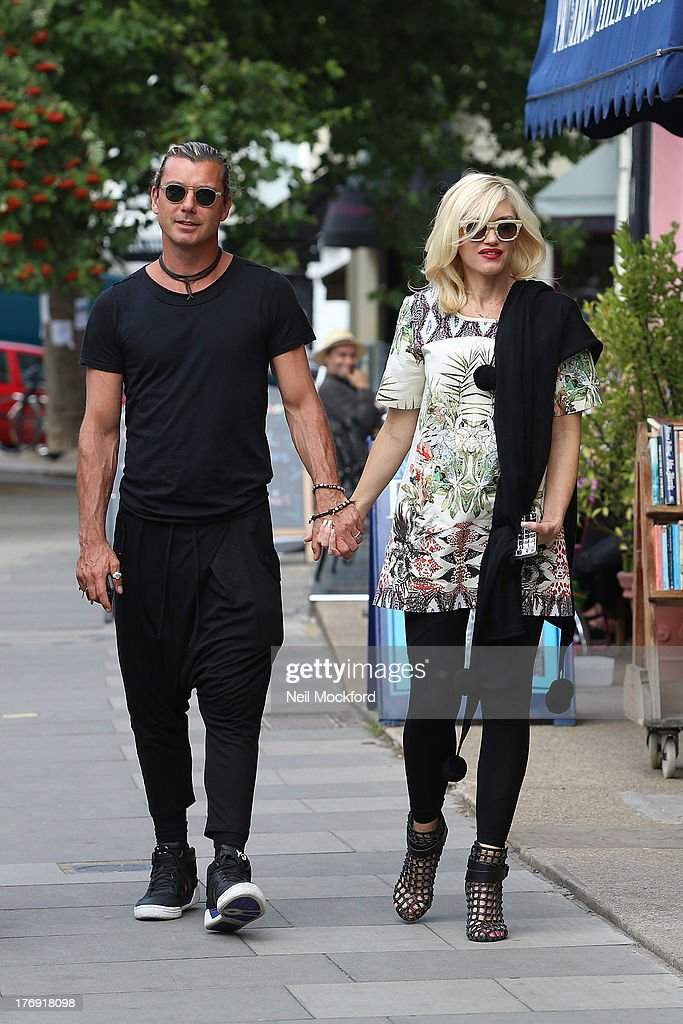 Gavin Rossdale and Gwen Stefani seen in Primrose Hill after having lunch together on August 19 2013 in London England