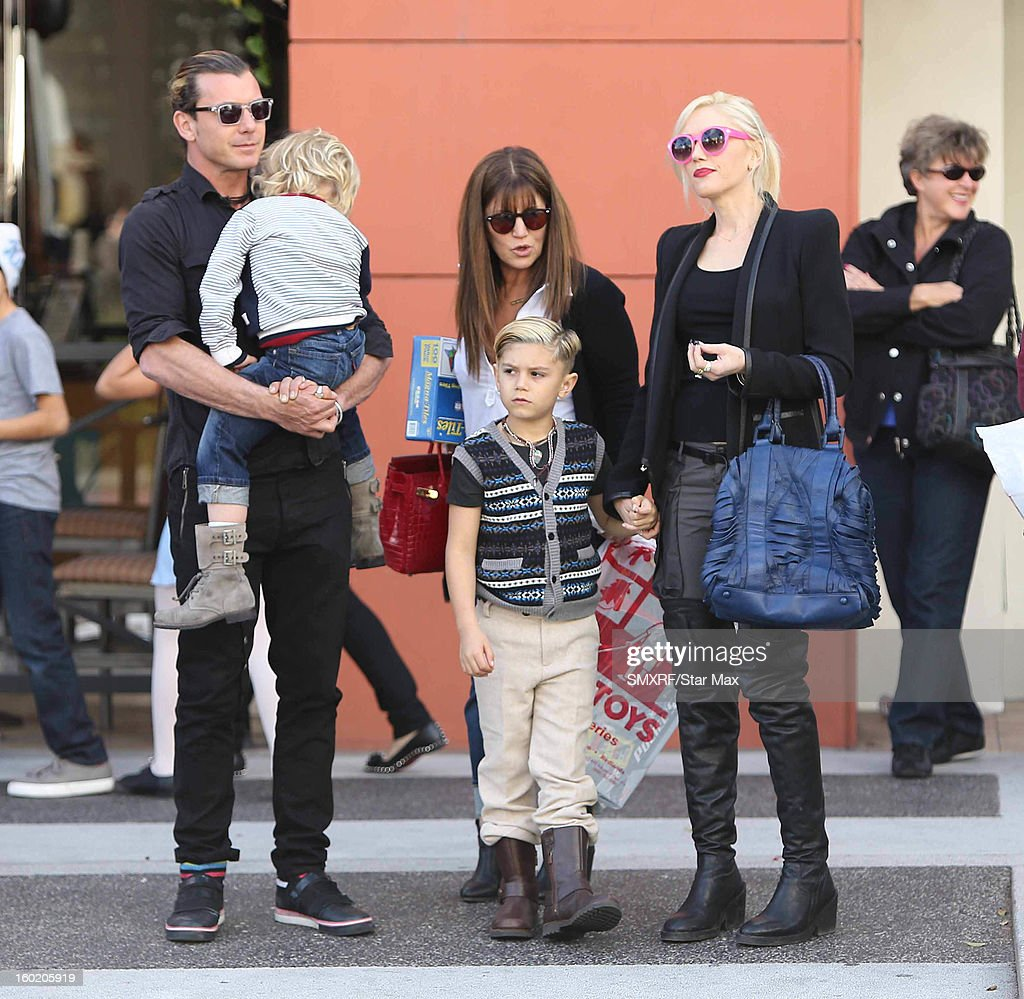 Gavin Rossdale, Zuma Nesta Rock Rossdale, Kingston James McGregor Rossdale and Gwen Stefani as seen on January 27, 2013 in Los Angeles, California.