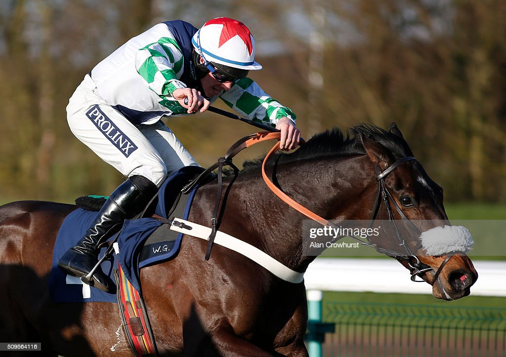 Gavin Sheehan riding Ma Du Fou clear the last to win The 32Red Sidney Banks memorial Novices' Hurdle Race at Huntingdon racecourse on February 11, 2016 in Huntingdon, England.