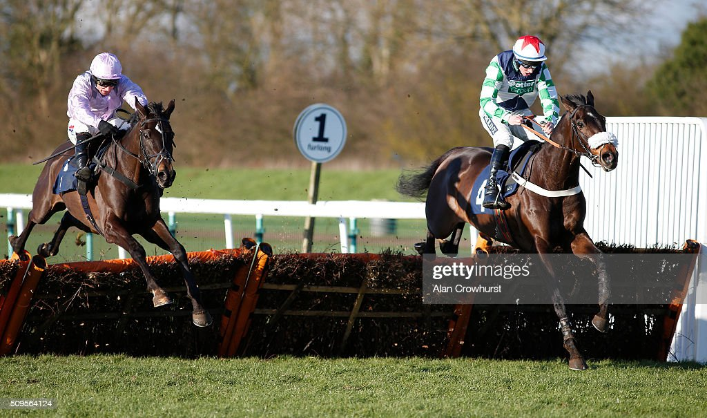 Gavin Sheehan riding Ma Du Fou (R) clear the last to win The 32Red Sidney Banks memorial Novices' Hurdle Race at Huntingdon racecourse on February 11, 2016 in Huntingdon, England.