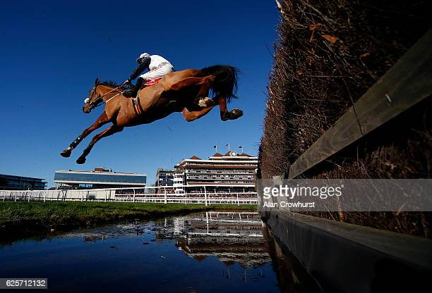 Gavin Sheehan riding One Track Mind clear the water jump during The Fuller's London Pride Novices' Steeple Chase at Newbury Racecourse on November 25...