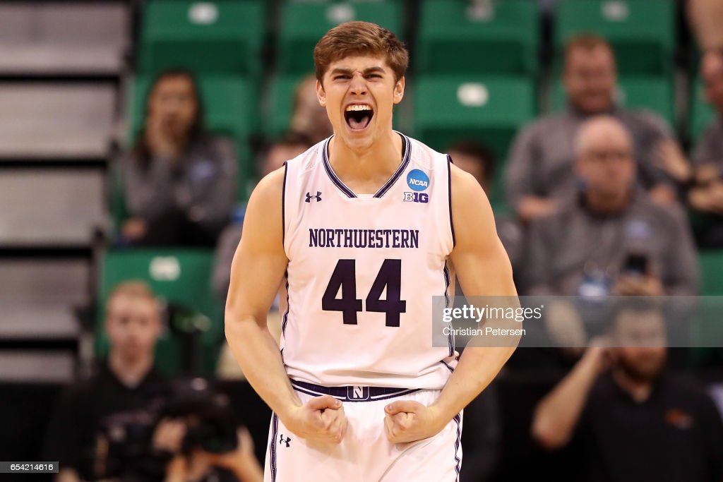 Gavin Skelly #44 of the Northwestern Wildcats celebrates after a play late in the game against the Vanderbilt Commodores during the first round of the 2017 NCAA Men's Basketball Tournament at Vivint Smart Home Arena on March 16, 2017 in Salt Lake City, Utah.