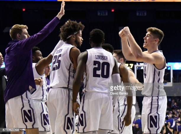 Gavin Skelly of the Northwestern Wildcatson after making a threepoint basket against the Creighton Bluejays November 15 2017 at Allstate Arena in...