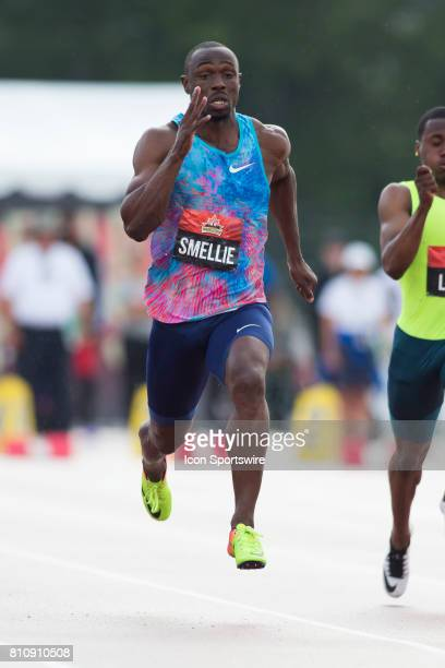 Gavin Smellie running in the 100m heats in the at the Canadian Track and Field Championships onJuly 07 2017 at the Terry Fox Athletic Facility in...