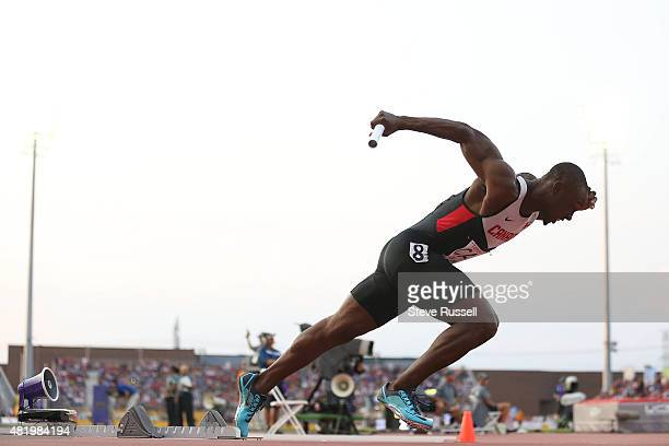 TORONTO ON JULY 25 Gavin Smellie starts the men's 4x 100 metre relay team that would finish first but be disqualified as Pan Am Track and Field at...