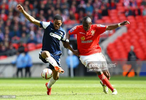 Gavin Tomlin of Southend United battles with Abdul Osman of Crewe Alexandra during the Johnstone's Paint Trophy Final match between Crewe Alexandra...