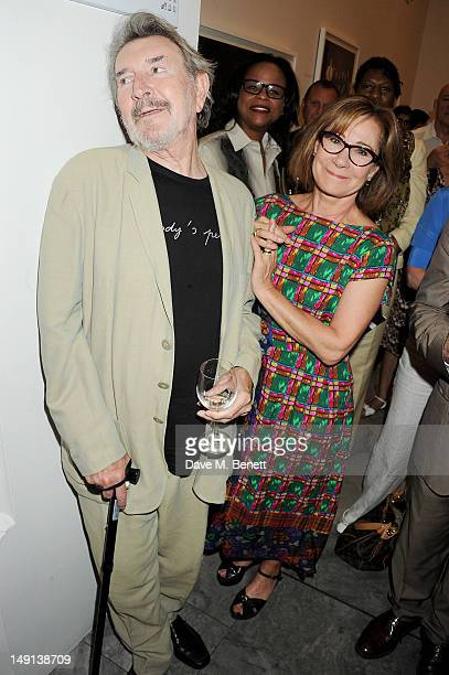 Gawn Grainger and Zoe Wanamaker attend a champagne reception introducing the Voice of a Woman Awards featuring a private viewing of the Cultural...