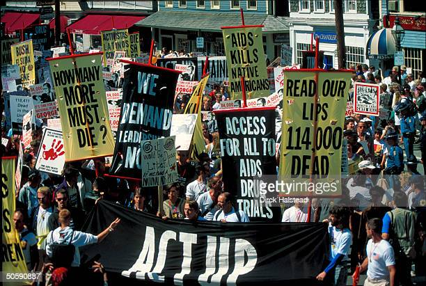 gay advocates protesting Pres Bush's AIDS policy in ACT UP demo replete w signs in Bush vacation town Kennebunkport ME