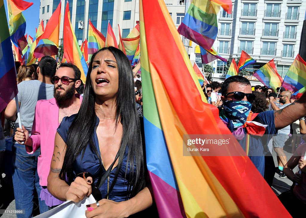 Gay and human rights activists chant slogans during anti-government protests on Istiklal Street, the main shopping corridor on June 23, 2013 in Istanbul, Turkey. The protest began in late May over the Gezi Park redevelopment project but swiftly turned into a protest and street party aimed at Prime Minister Recep Tayyip Erdogan and what protestors call his increasingly authoritarian rule. The protest has spread to dozens of cities in Turkey, in secular anger against Mr. Erdogan and his Islam-rooted Justice and Development Party.
