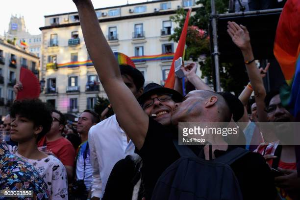 A Gay Couple during the Pride Proclamation in Madrid on 28th 2017 From the Plaza de Pedro Zerolo is the kickoff party to the Pride parties called...