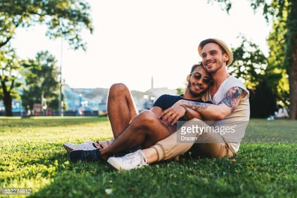 Gay couple enjoying summer vacation