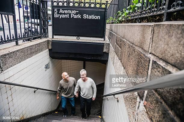 Gay couple in New York City, enjoying the city life