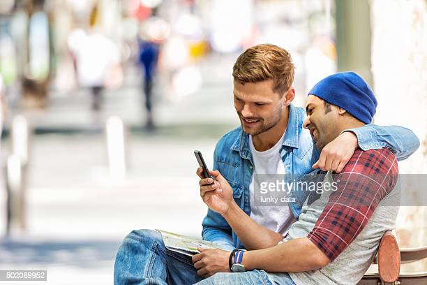 Gay couple on city trip