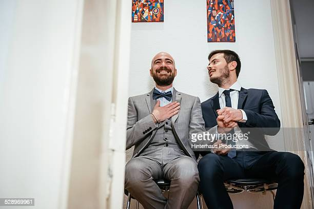 Gay Couple Waiting Excited For Wedding Ceremony