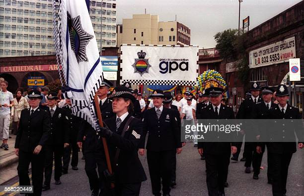 Gay Police Association marching at Gay Pride Manchester UK August 2003