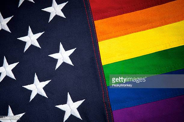 Gay Pride American Flag with Stars and Rainbow Stripes
