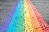 Gay pride flag crosswalk in Montreal gay village