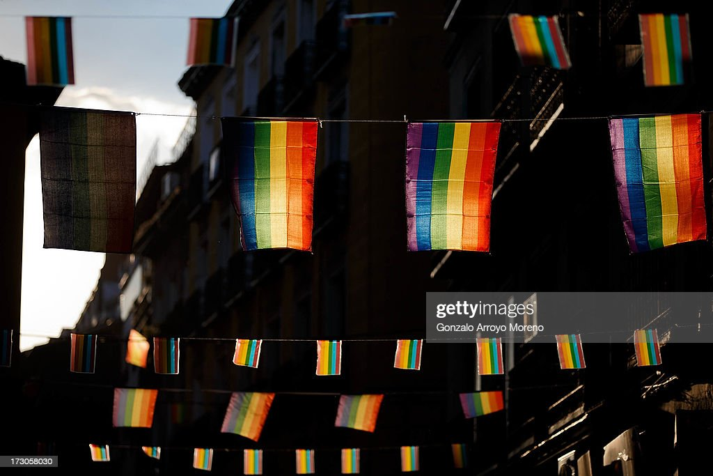 Gay pride flags fly in the Chueca neighborhood during the Madrid Gay Pride Festival 2013 on July 5, 2013 in Madrid, Spain. According to a new Pew Research Center survey about homosexual acceptance around the world, Spain tops gay-friendly countries with an 88 percent acceptance rate.
