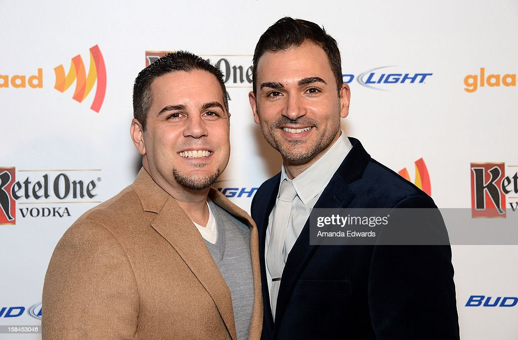 Gay rights activists Jeff Zarrillo (L) and Paul Katami arrive at the GLAAD Tidings Annual Holiday Celebration at The London Hotel on December 16, 2012 in West Hollywood, California.