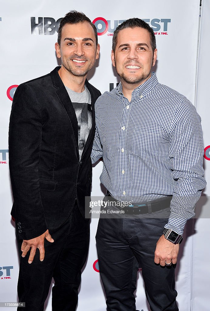 Gay rights activists Paul Katami (L) and Jeff Zarrillo arrive at the 2013 Outfest Opening Night Gala of C.O.G. at The Orpheum Theatre on July 11, 2013 in Los Angeles, California.