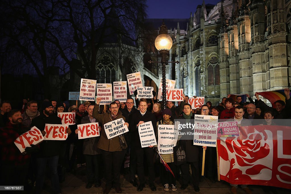 Gay rights campaigners gather outside The Houses of Parliament on February 5, 2013 in London, England. Later Parliament will hold a vote on whether to allow homosexual couples to marry.