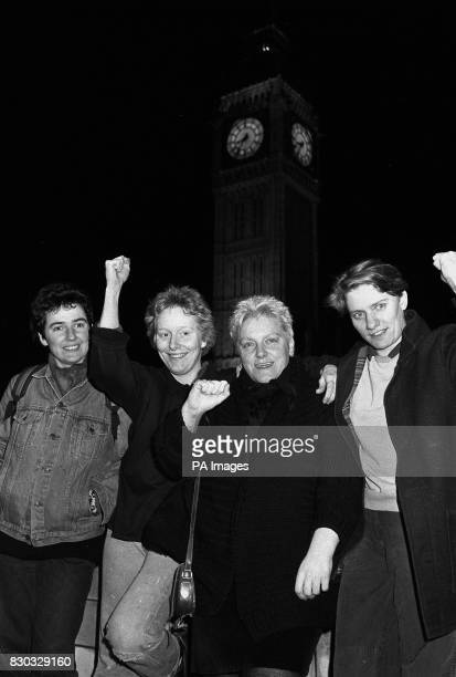 Gay rights protestors defiant outside the Palace of Westminster after being detained 'at their Lordships pleasure' following the commandostyle...