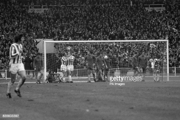 Gay spirited Stoke and dejected looking Chelsea players after George Eastham scored Stoke City's second goal to give them a 21 League Cup victory...